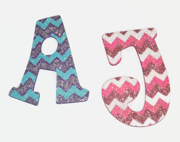 Glitter Chevron Print Decorative Wall Letters Nursery Decor Baby Shower Gift