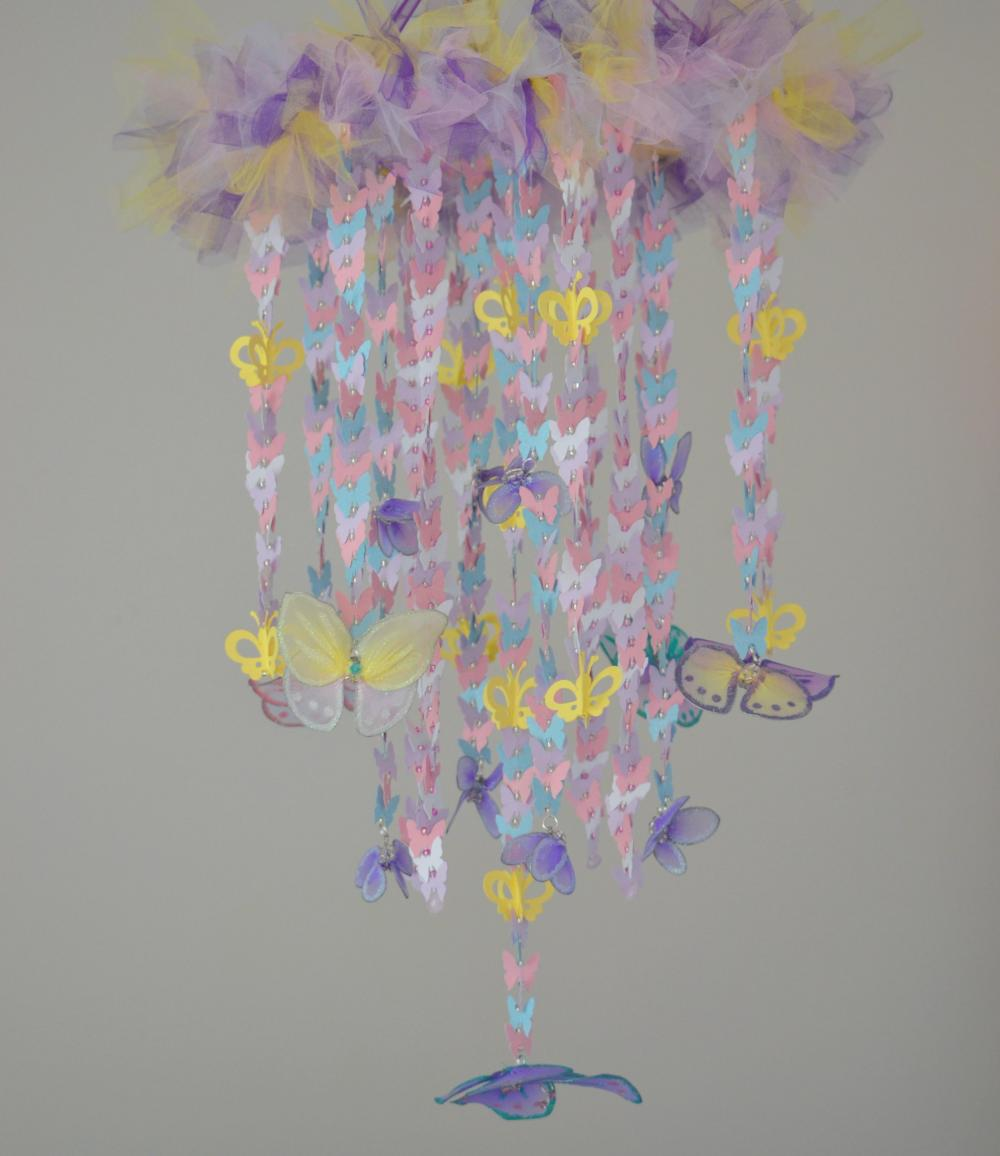 Pink Yellow Purple Baby Shower Part - 46: Butterfly Wonderland Crib Mobile (purple, Pink, Yellow, White,blue) Nursery
