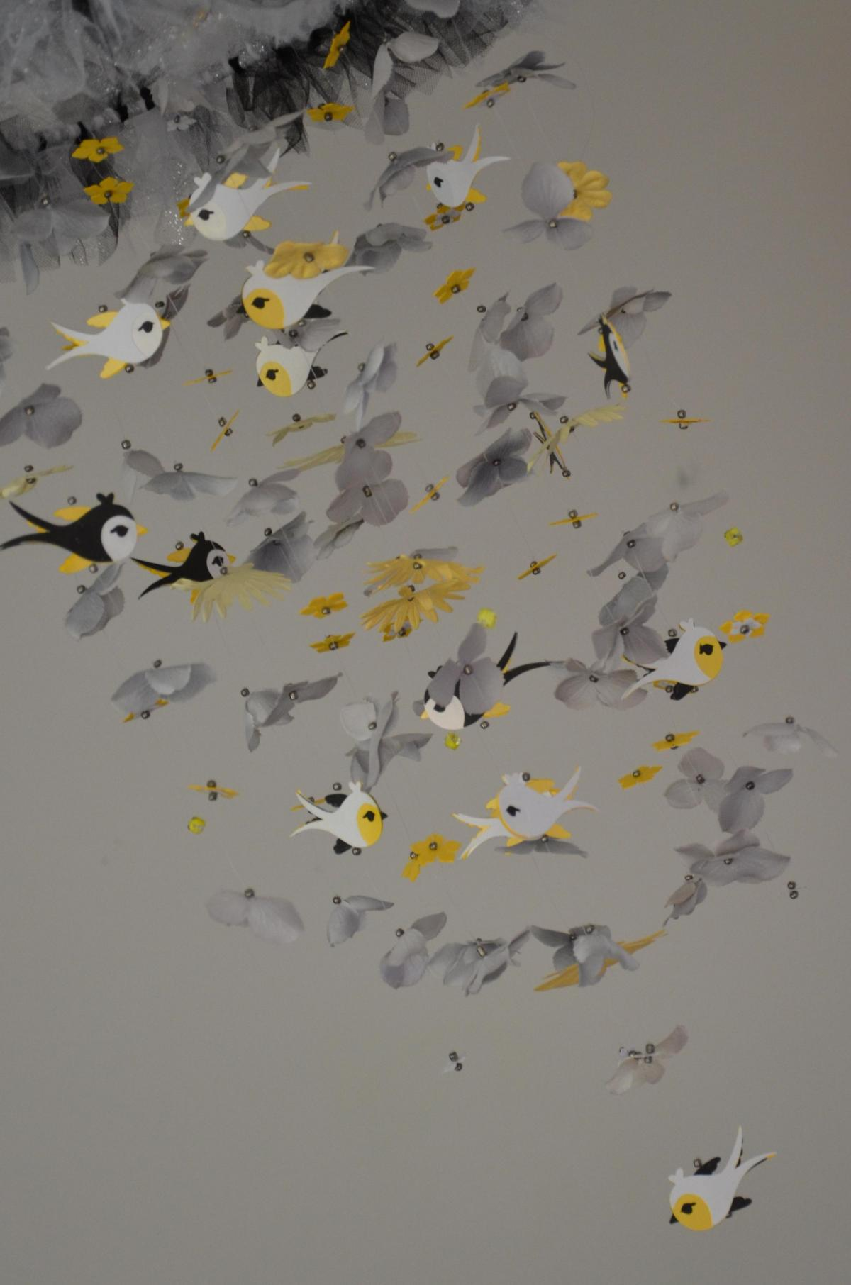 Whimsical Bird Nursery Mobile Yellow Gray Black White