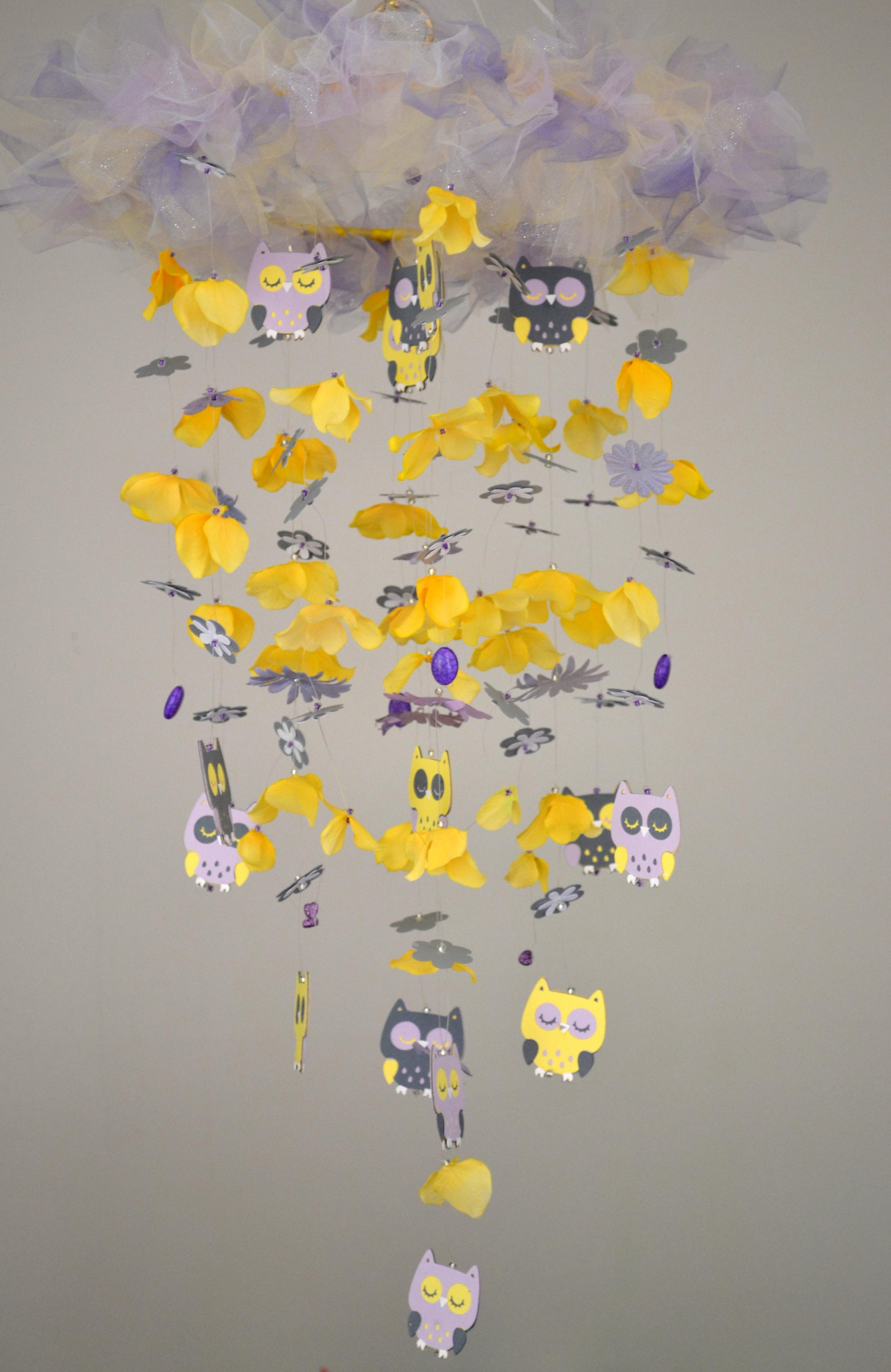 Baby Owl Nursery Mobile Yellow Lavender Gray White Nursery Decor