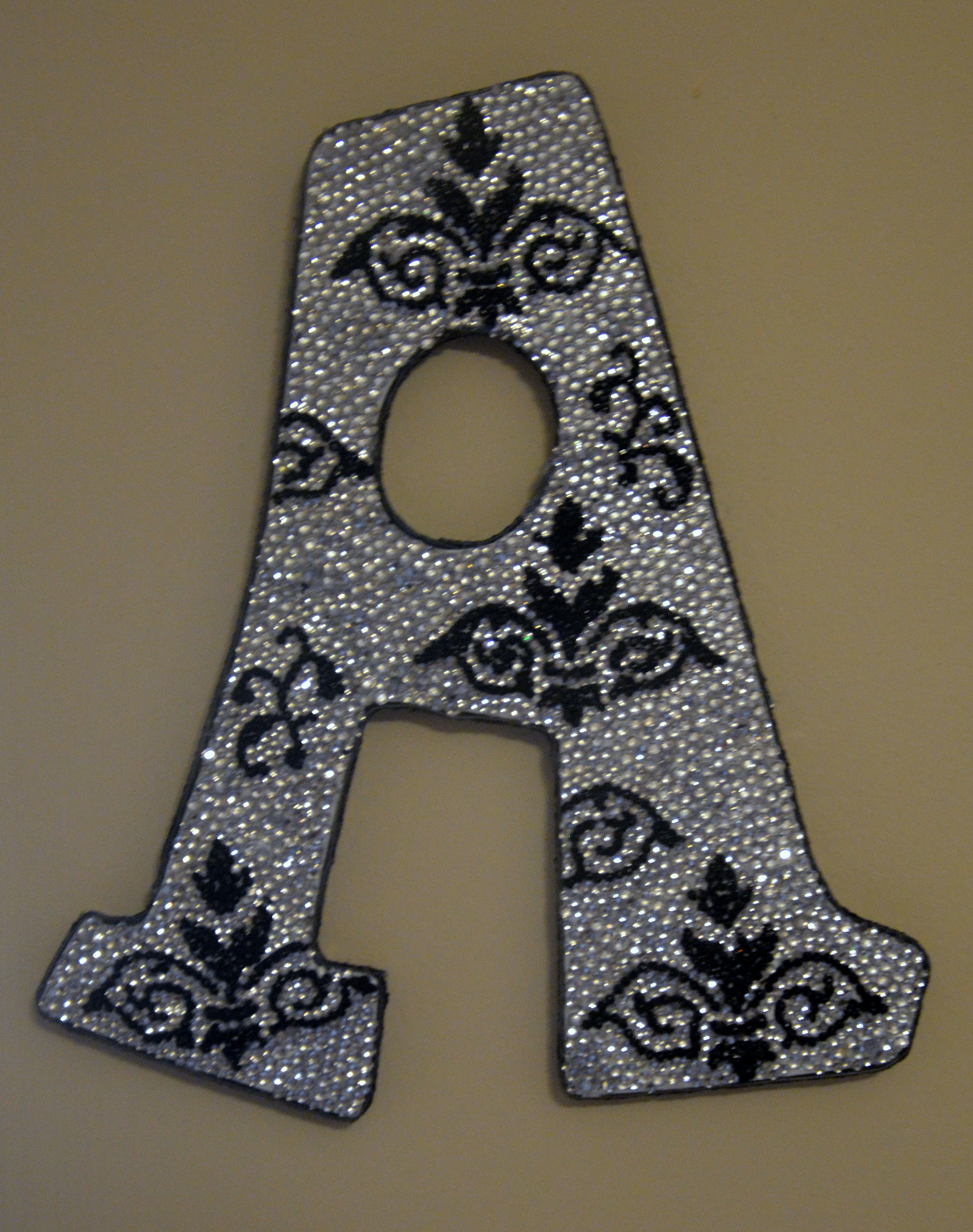 Rhinestone Damask Decorative Wall Letters, Nursery Decor, Baby Shower Gift